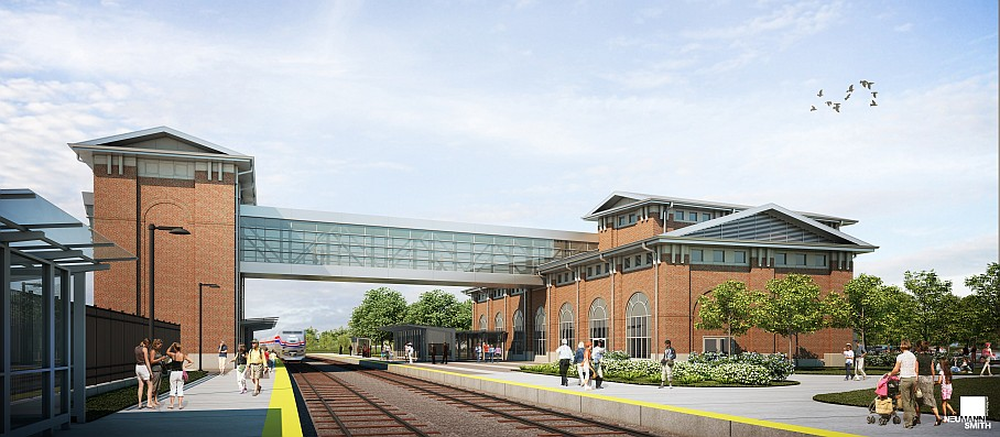 Rendering of the new Intermodal Passenger Rail Station in Dearborn, Michigan - courtesy of Neuman Smith Architecture