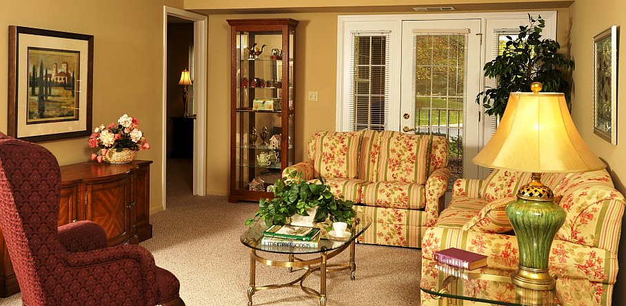 Living room of hospitality apartment for Oakwood Common guests.