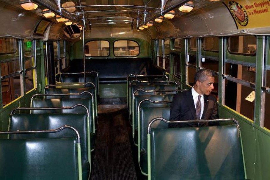 President Barack Obama Photo on the Rosa Parks bus at the Henry Ford in Dearborn, Michigan
